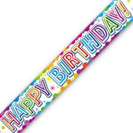 COLOURFUL CONFETTI BIRTHDAY METALLIC BANNER 2.7M