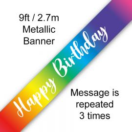 9FT BANNER RAINBOW SCRIPT BIRTHDAY