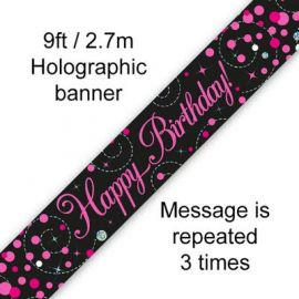 HAPPY BIRTHDAY BANNER PINK & SILVER 2.7M