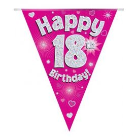 PARTY BUNTING PINK HOLO HAPPY 16TH 3.9M