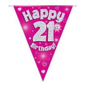 PARTY BUNTING PINK HOLO HAPPY 21ST 3.9M