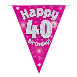 PARTY BUNTING PINK HOLO HAPPY 40TH 3.9M