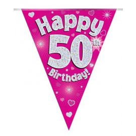 PARTY BUNTING PINK HOLO HAPPY 50TH 3.9M