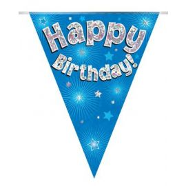 PARTY BUNTING BLUE HOLO HAPPY BIRTHDAY  3.9M
