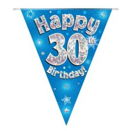 PARTY BUNTING BLUE HOLO HAPPY 21ST 3.9M