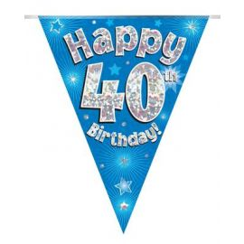 PARTY BUNTING BLUE HOLO HAPPY 40TH 3.9M