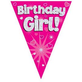 PARTY BUNTING PINK HOLO BIRTHDAY GIRL 3.9M