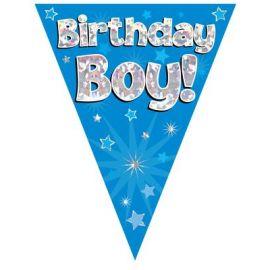 PARTY BUNTING BLUE HOLO BIRTHDAY BOY 3.9M