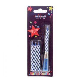 4 MUSICAL CANDLES BLUE STRIPE