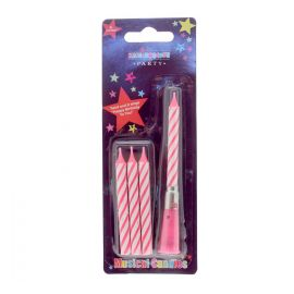 4 MUSICAL CANDLES PINK STRIPE