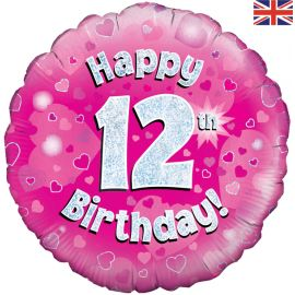 18 INCH HAPPY 12TH BIRTHDAY PINK HOLOGRAPHIC