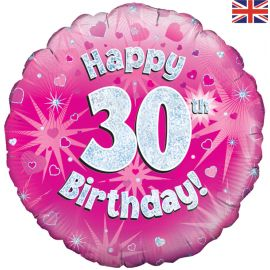 18 INCH HAPPY 30TH BIRTHDAY PINK HOLOGRAPHIC