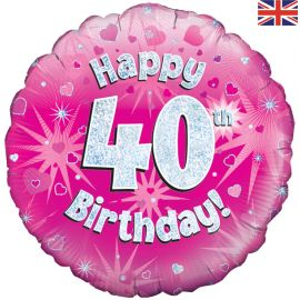18 INCH HAPPY 40TH BIRTHDAY PINK HOLOGRAPHIC