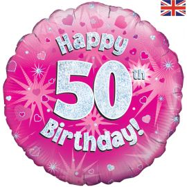 18 INCH HAPPY 50TH BIRTHDAY PINK HOLOGRAPHIC