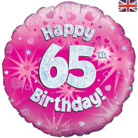 18 INCH HAPPY 65TH BIRTHDAY PINK HOLOGRAPHIC