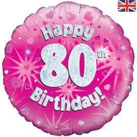18 INCH HAPPY 80TH BIRTHDAY PINK HOLOGRAPHIC
