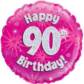 18 INCH HAPPY 90TH BIRTHDAY PINK HOLOGRAPHIC