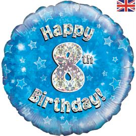 18 INCH HAPPY 8TH BIRTHDAY BLUE HOLOGRAPHIC