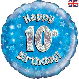 18 INCH HAPPY 10TH BIRTHDAY BLUE HOLOGRAPHIC