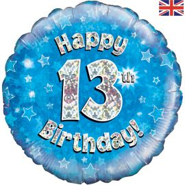 18 INCH HAPPY 13TH BIRTHDAY BLUE HOLOGRAPHIC