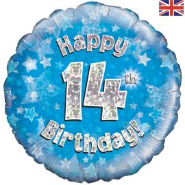 18 INCH HAPPY 14TH BIRTHDAY BLUE HOLOGRAPHIC