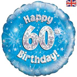18 INCH HAPPY 60TH BIRTHDAY BLUE HOLOGRAPHIC