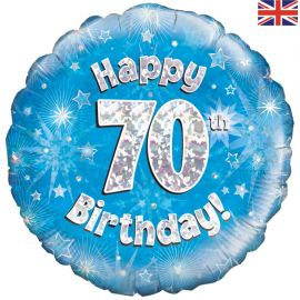 18 INCH HAPPY 70TH BIRTHDAY BLUE HOLOGRAPHIC