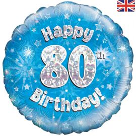 18 INCH HAPPY 80TH BIRTHDAY BLUE HOLOGRAPHIC