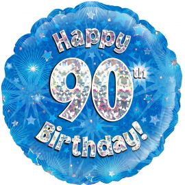 18 INCH HAPPY 90TH BIRTHDAY BLUE HOLOGRAPHIC