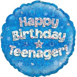 18 INCH FOIL HAPPY BIRTHDAY TEENAGER BLUE HOLOGRAPHIC