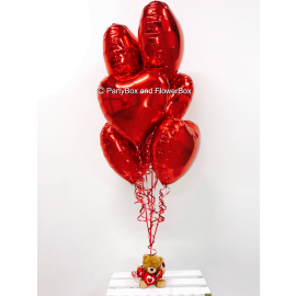 6 RED FOIL BALLOONS WITH SMALL TEDDY
