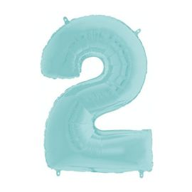 26 INCH PASTEL BLUE NUMBER 2 BALLOON