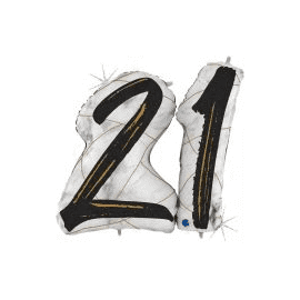 43 INCH BLACK MARBLE MATE SHAPE NUMBER 21 BALLOON