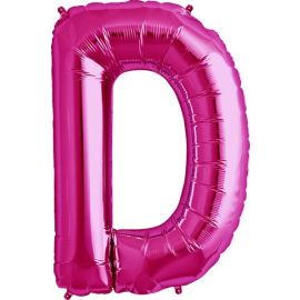 34 INCH LETTER D MAGENTA BALLOON