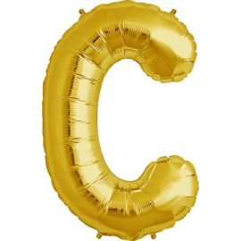 34 INCH GOLD LETTER C BALLOON