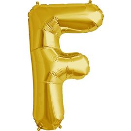 34 INCH GOLD LETTER F BALLOON