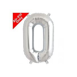 16 INCH NUMBER 0 SILVER AIR FILLED BALLOON