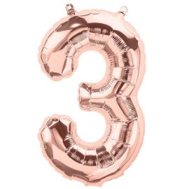 16 INCH NUMBER 3 ROSE GOLD AIR FILLED BALLOON