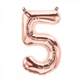 16 INCH NUMBER 5 ROSE GOLD AIR FILLED BALLOON