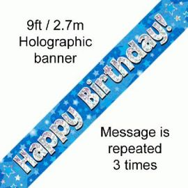9FT BANNER BLUE HOLO HAPPY BIRTHDAY