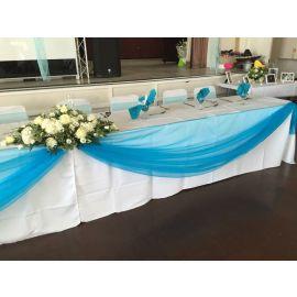 CAKE TABLE ORGANZA SWAG & BOWS